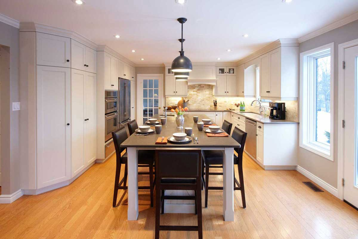 Kitchen Enlarged By Removing Wall Between Dining Room And Spacious Island